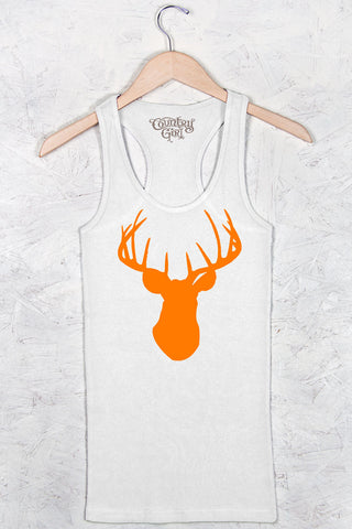 White - Women's Orange Deer Head Fitted Racerback Tank