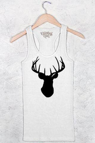 White - Women's Deer Head Fitted Racerback Tank
