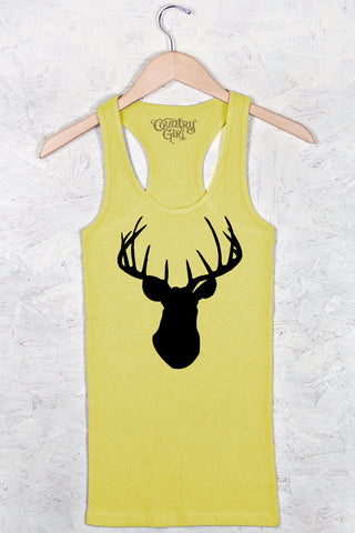Canary - Women's Deer Head Fitted Racerback Tank