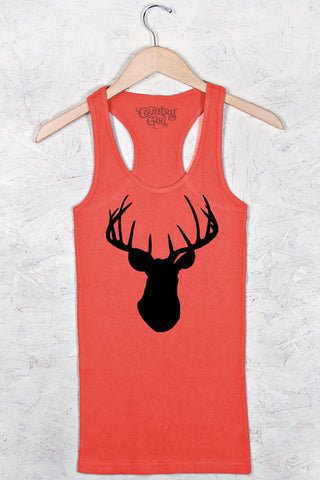 Poppy - Women's Deer Head Fitted Racerback Tank