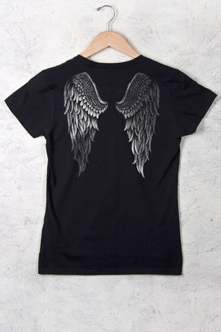 Black - Women's Silver Angel Wings Short Sleeve Tee