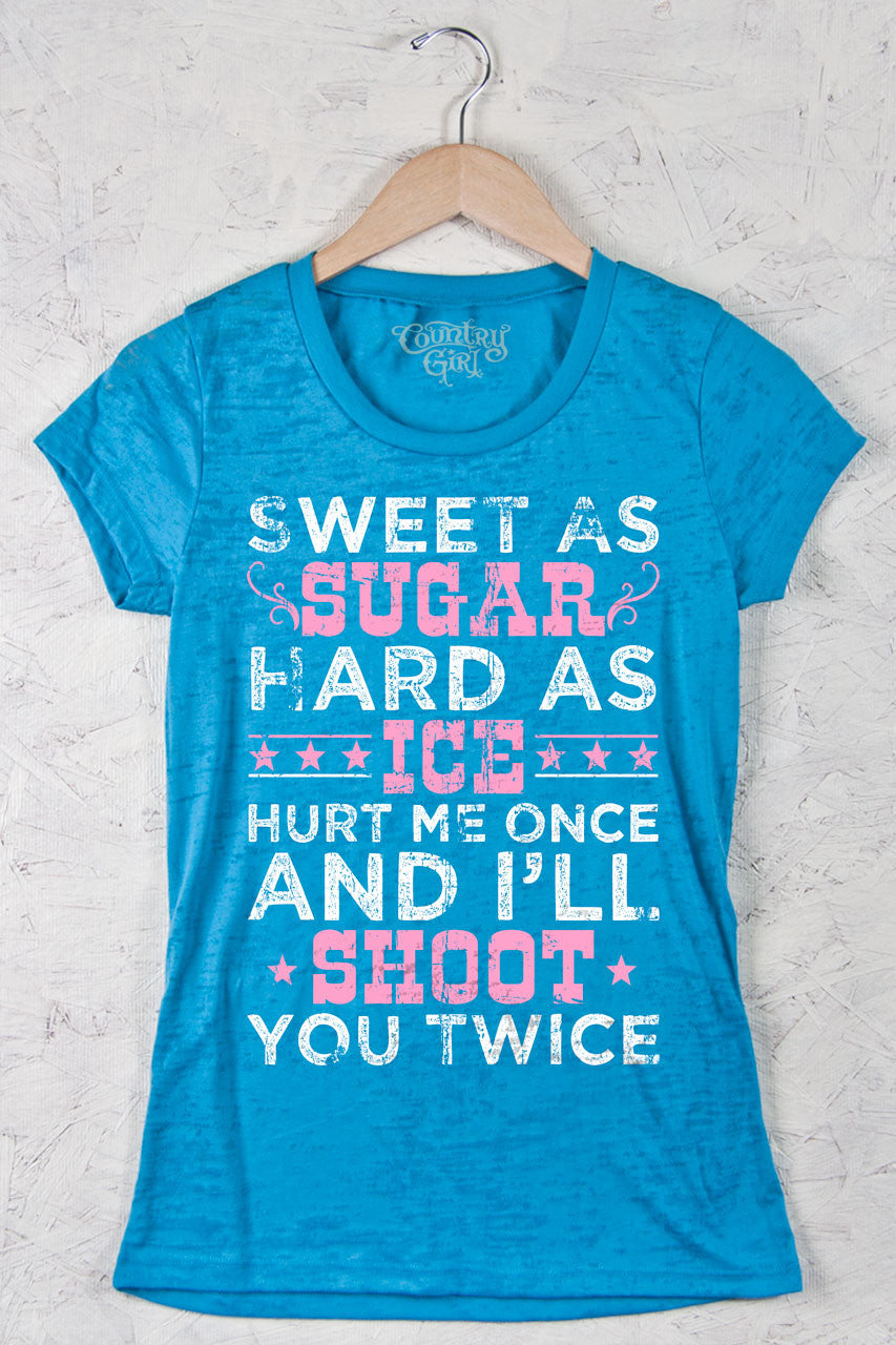 Aqua - Juniors Shoot Twice Pink Burnout Short Sleeve Tee
