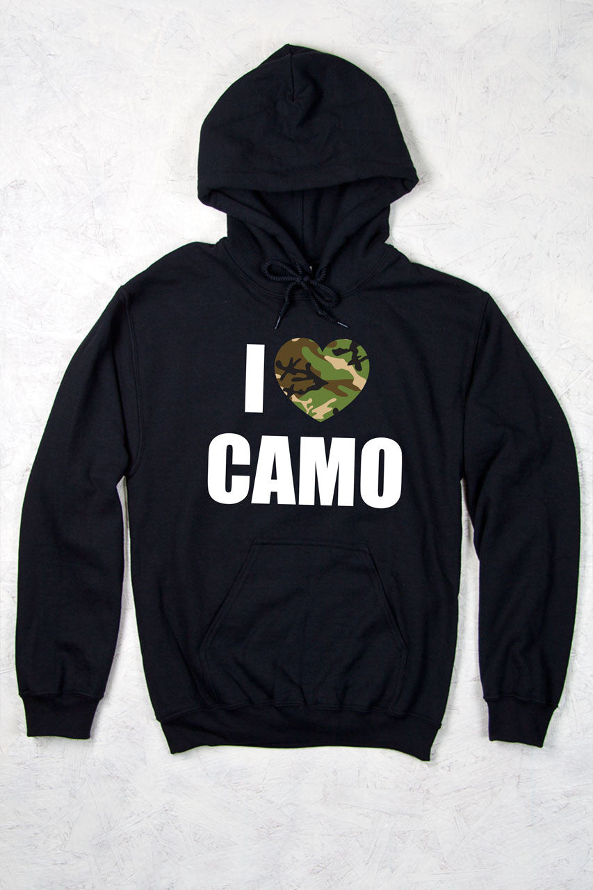 Black - Women's I Heart Camo Relaxed Pullover Hoodie