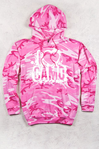 Pink Camo - Women's I Heart Camo Splatter Relaxed Pink Camo Pullover Hoodie