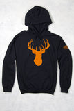 Black - Women's Orange Deer Head Relaxed Pullover Hoodie
