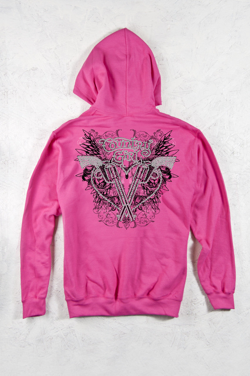 Heliconia - Women's Rhinestones Pistol Wings Relaxed Pullover Hoodie