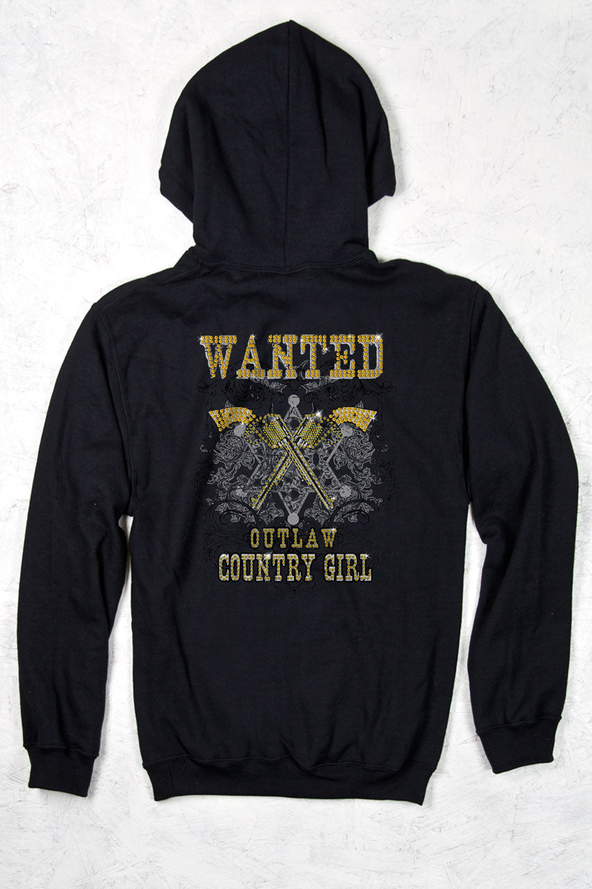 Black - Women's Wanted W/ Rhinestones Relaxed Pullover Hoodie