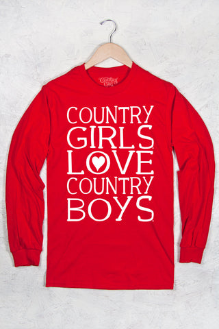 Red - Women's Love CBs Long Sleeve Tee