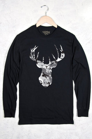 Black - Women's Grey Camo Deer Head Long Sleeve Tee