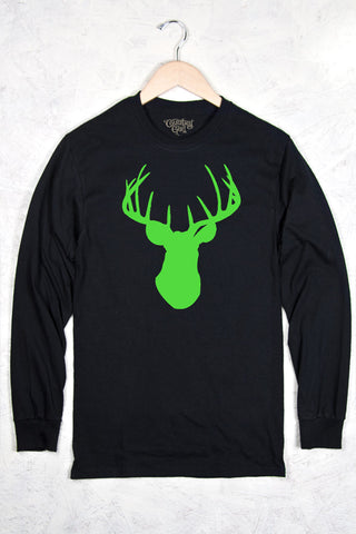 Black - Women's Neon Green Deer Head Long Sleeve Tee