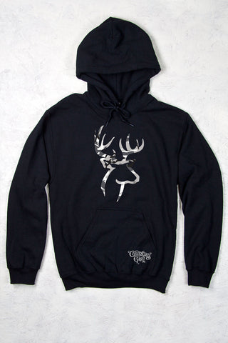 Black - Women's Grey Camo Deer Logo Relaxed Pullover Hoodie