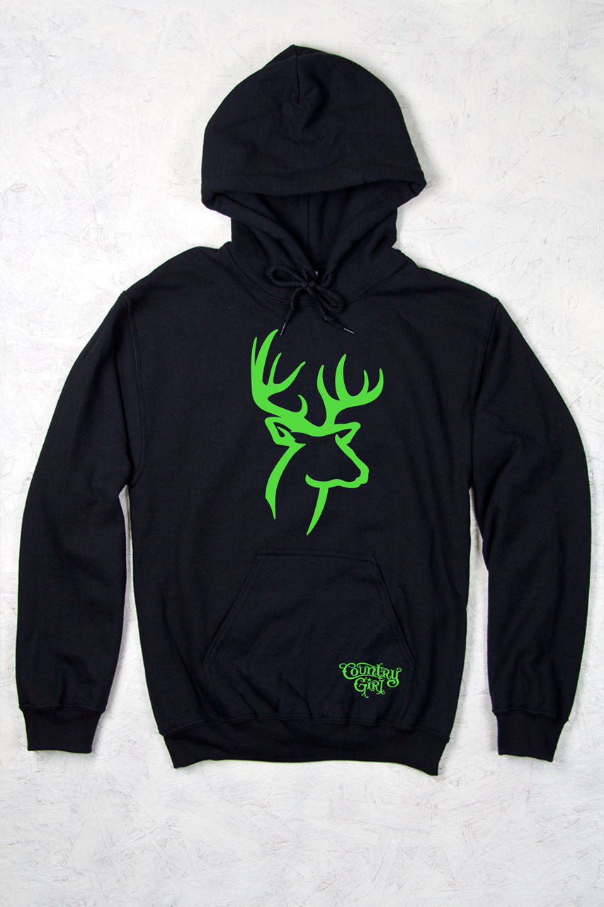 Black - Women's Green Deer Logo Relaxed Pullover Hoodie