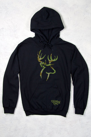 Black - Women's Camo Deer Logo Relaxed Pullover Hoodie
