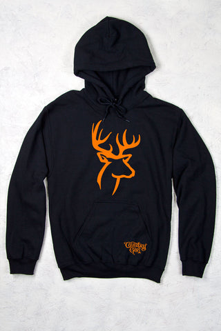 Black - Women's Orange Deer Logo Relaxed Pullover Hoodie