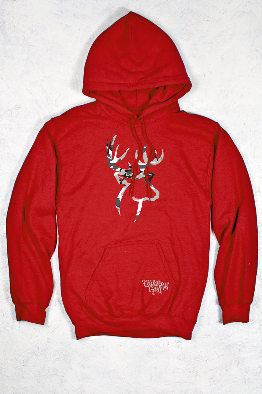 Red - Women's Grey Camo Deer Logo Relaxed Pullover Hoodie