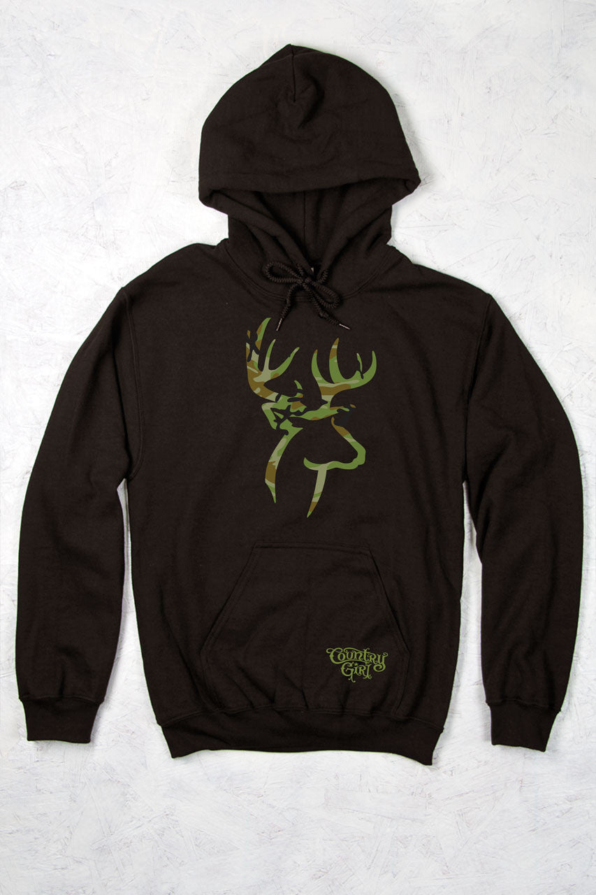 Dark Chocolate - Women's Camo Deer Logo Relaxed Pullover Hoodie