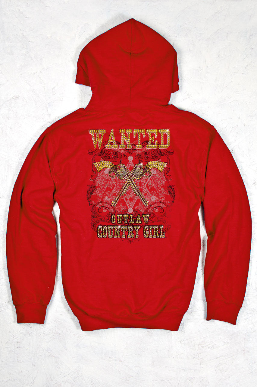 Red - Women's Wanted W/ Rhinestones Relaxed Pullover Hoodie