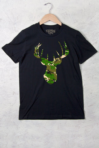 Black - Women's Camo Deer Head w/nape Full Figure Short Sleeve Tee