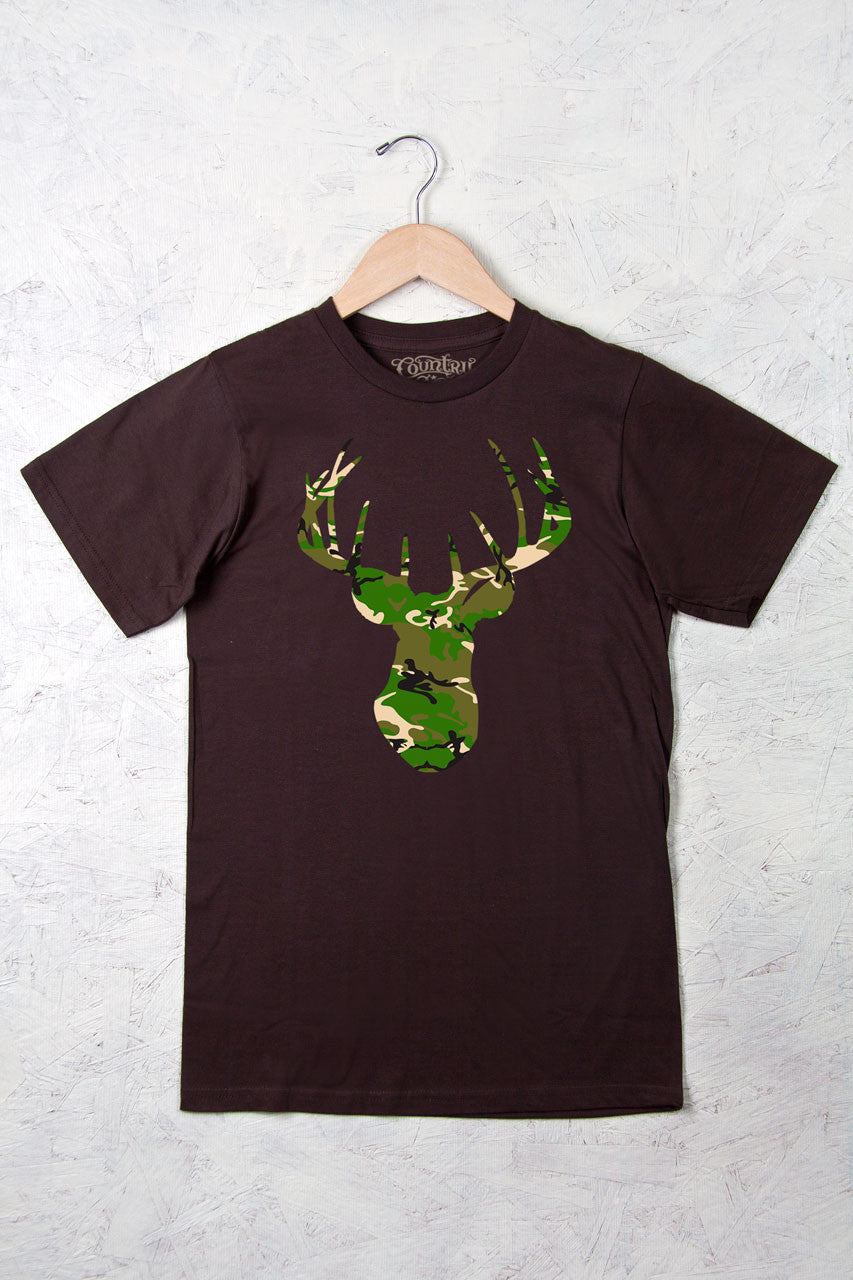 Chocolate - Women's Camo Deer Head w/nape Full Figure Short Sleeve Tee