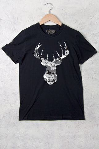 Black - Women's Deer Head Camo w/nape Full Figure Short Sleeve Tee