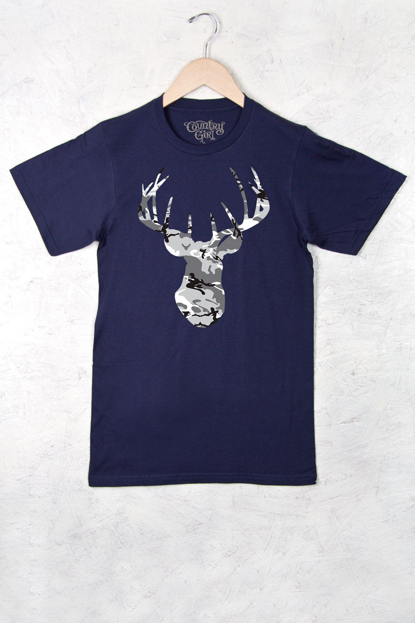Navy - Women's Deer Head Camo w/nape Full Figure Short Sleeve Tee