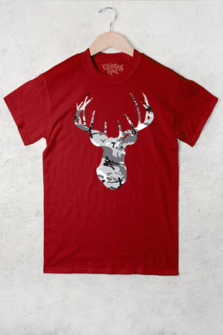 Red - Women's Deer Head Camo w/nape Full Figure Short Sleeve Tee