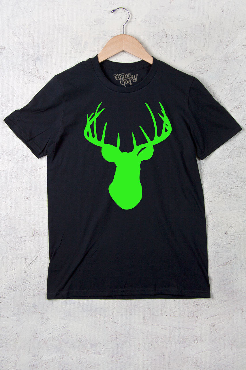 Black - Women's Neon Green Deer Head w/nape Full Figure Short Sleeve Tee