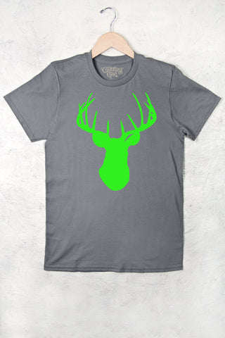 Charcoal - Women's Neon Green Deer Head w/nape Full Figure Short Sleeve Tee