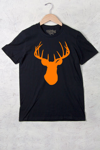 Black - Women's Orange Deer Head w/nape Full Figure Short Sleeve Tee