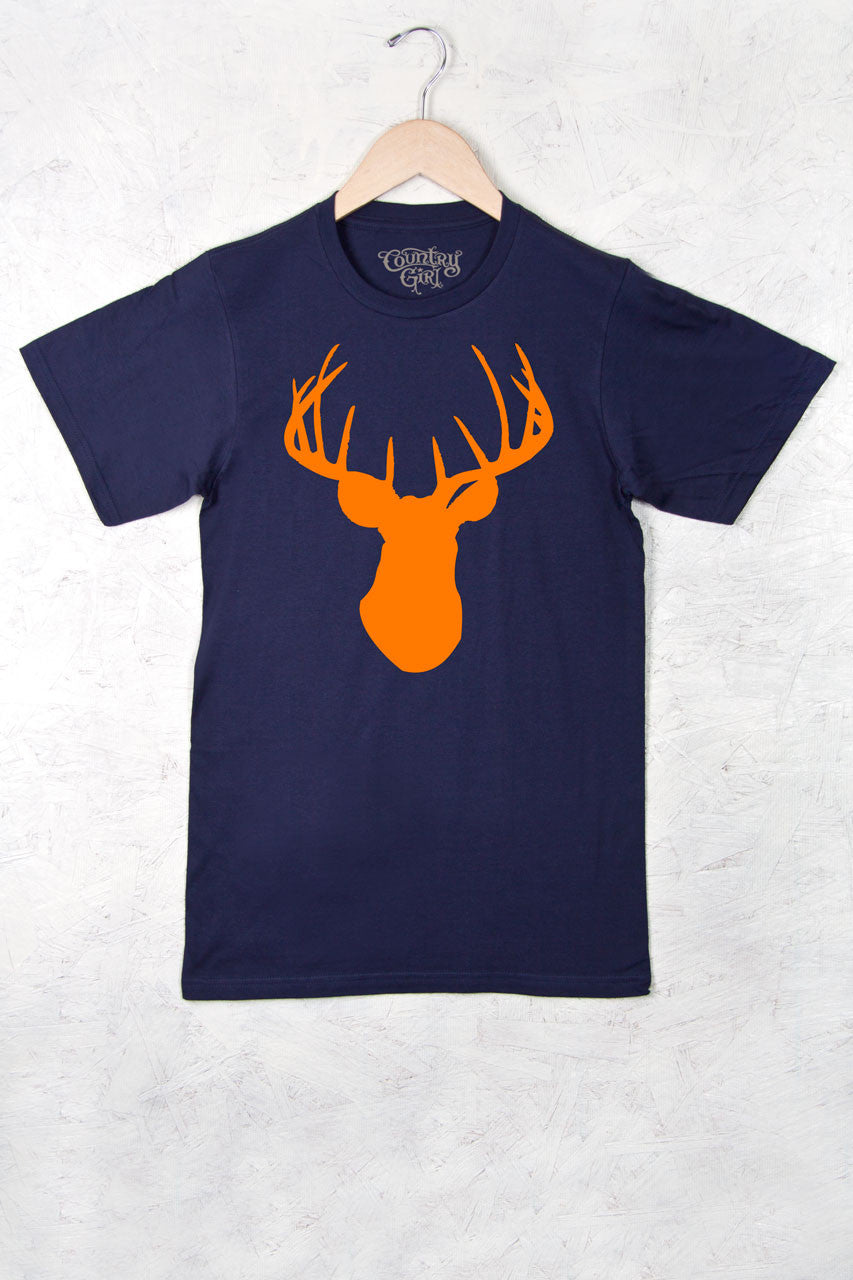 Navy - Women's Orange Deer Head w/nape Full Figure Short Sleeve Tee