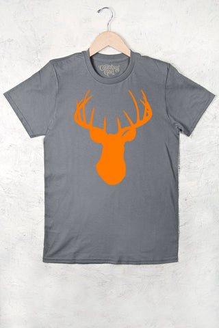 Charcoal - Women's Orange Deer Head w/nape Full Figure Short Sleeve Tee