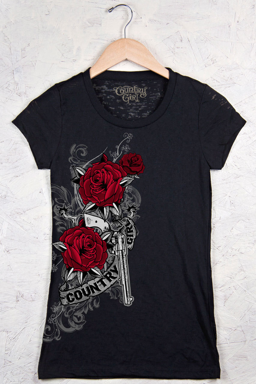 Black - Juniors Rose Gun Burnout Short Sleeve Tee