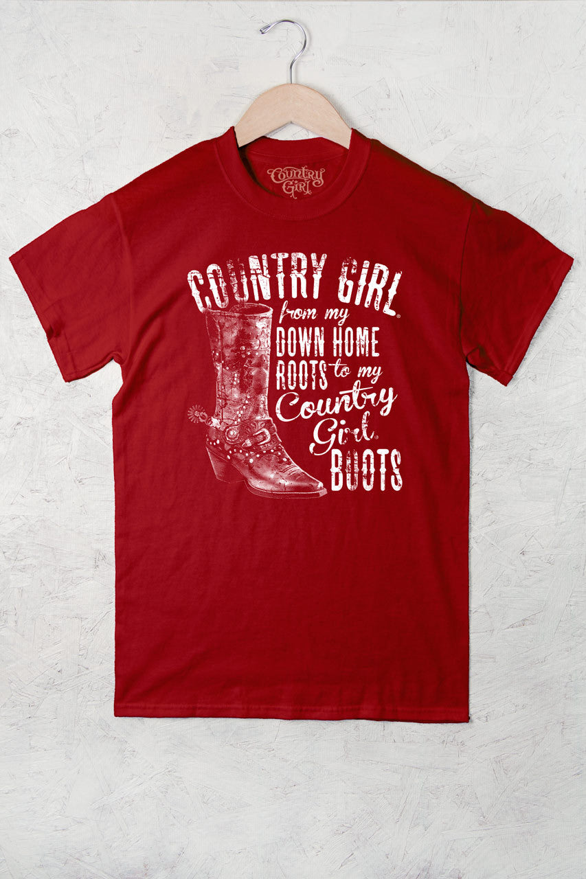 Red - Women's Down Home Roots Full Figure Short Sleeve Tee