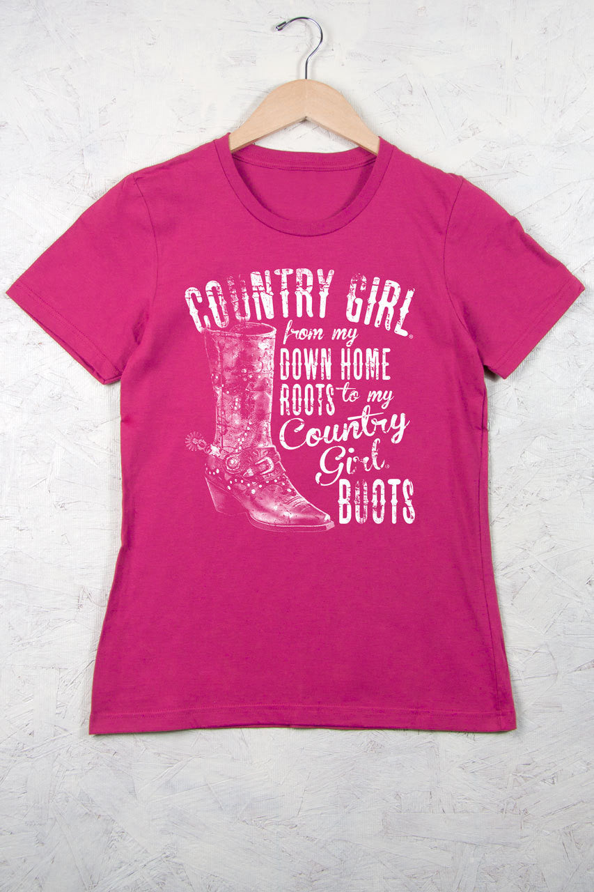 Hot Pink - Women's Down Home Roots Short Sleeve Tee