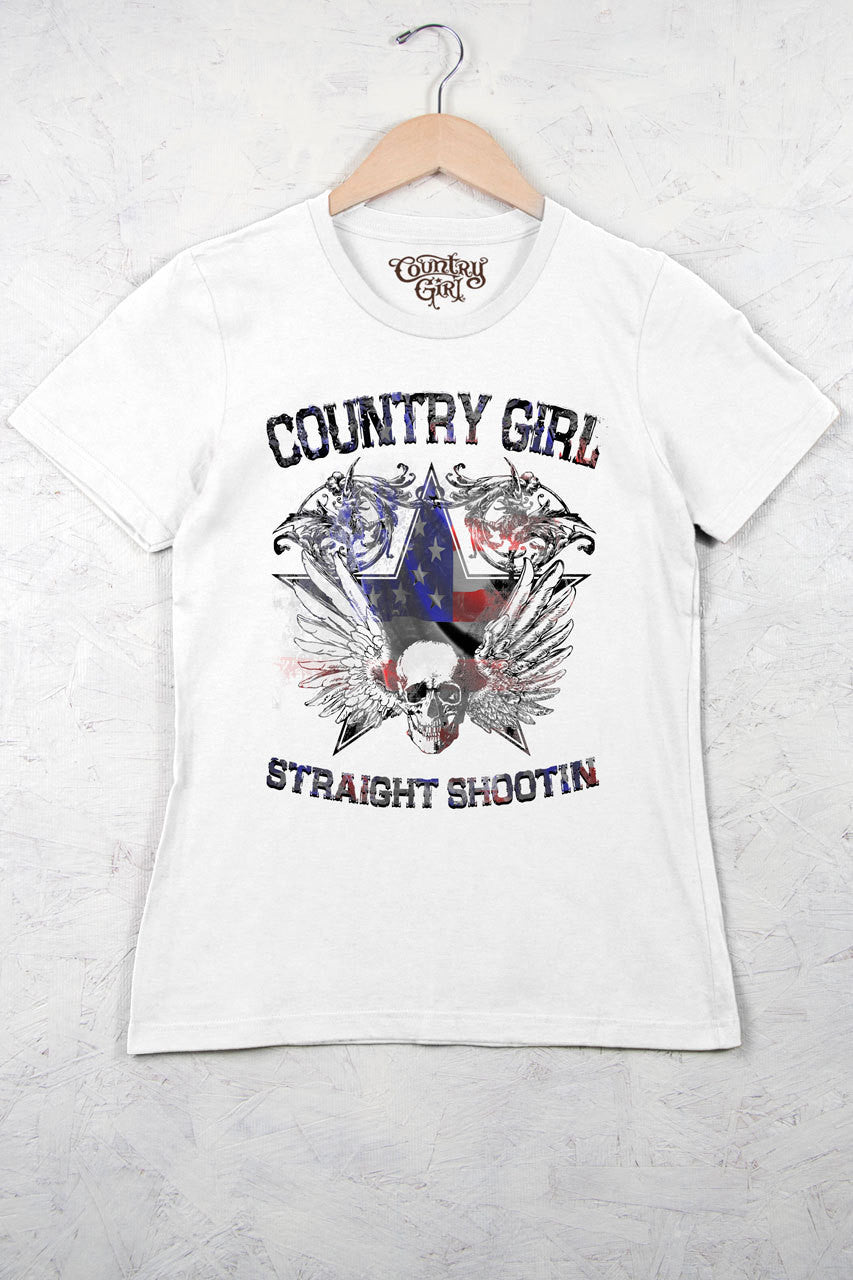 White - Women's Straight Shootin Flag Short Sleeve Tee