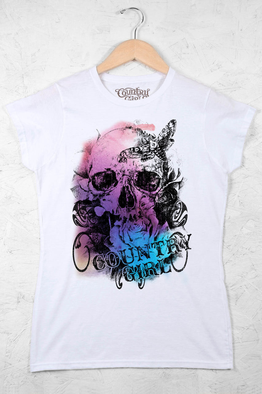 White - Juniors Watercolor Skull Short Sleeve Tee