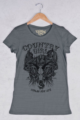 Graphite - Women's Outlaw Deer Skull Triblend Crew Neck Tee