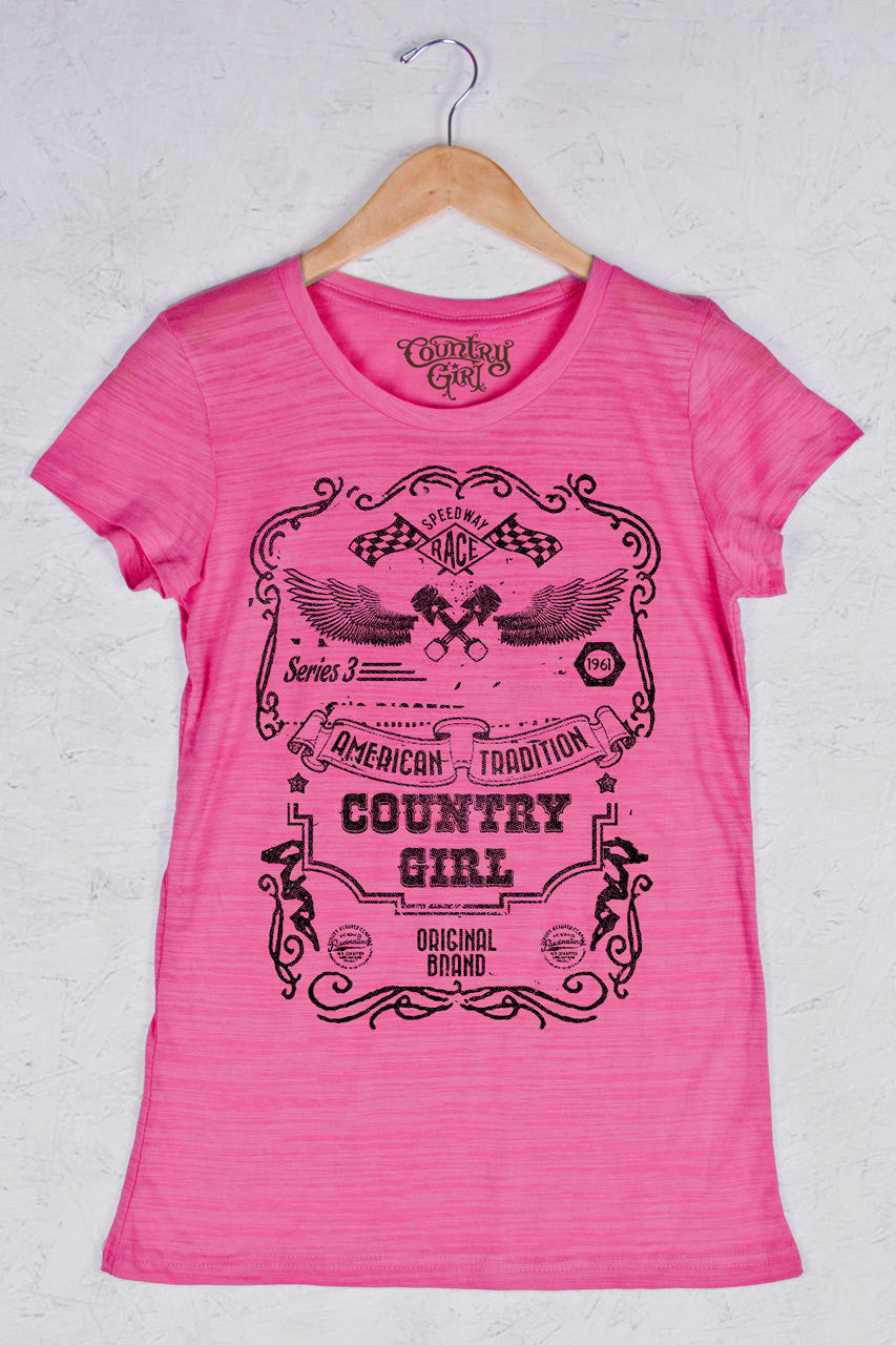 Hot Pink - Women's Speedway Black Triblend Crew Neck Tee