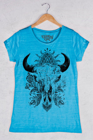 Turquoise - Women's Swirly Steer Triblend Crew Neck Tee