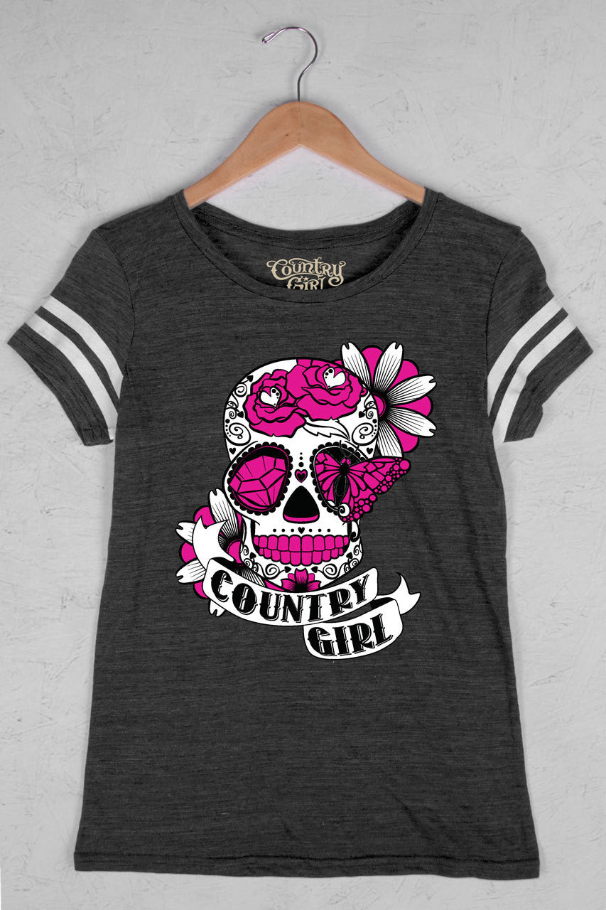Black/White - Women's Sugar Skull Triblend Football Tee