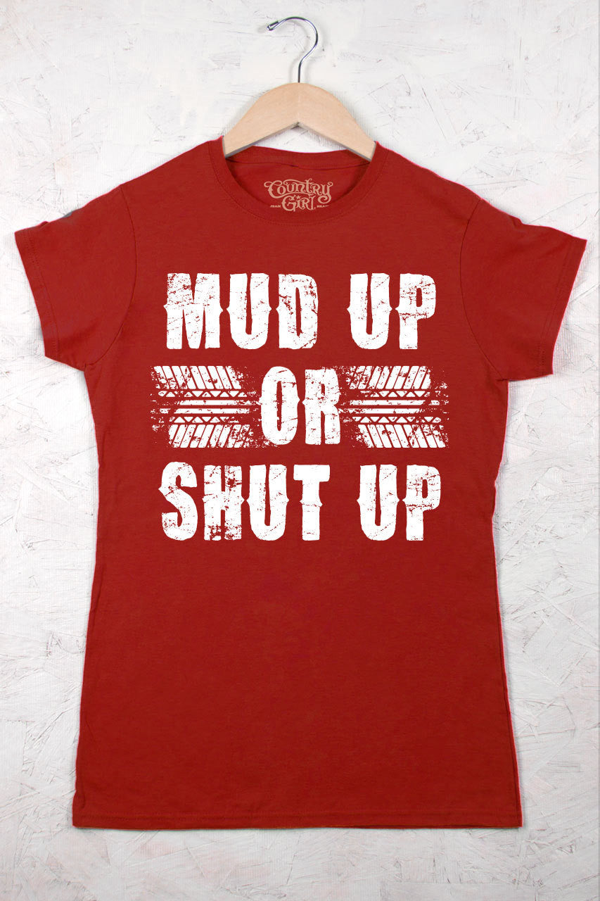 Red - Juniors Mud Up Short Sleeve Tee