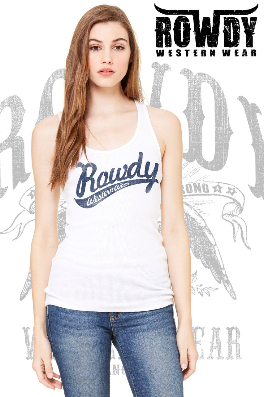 White - Juniors Rowdy Distressed Baseball Racerback Tank