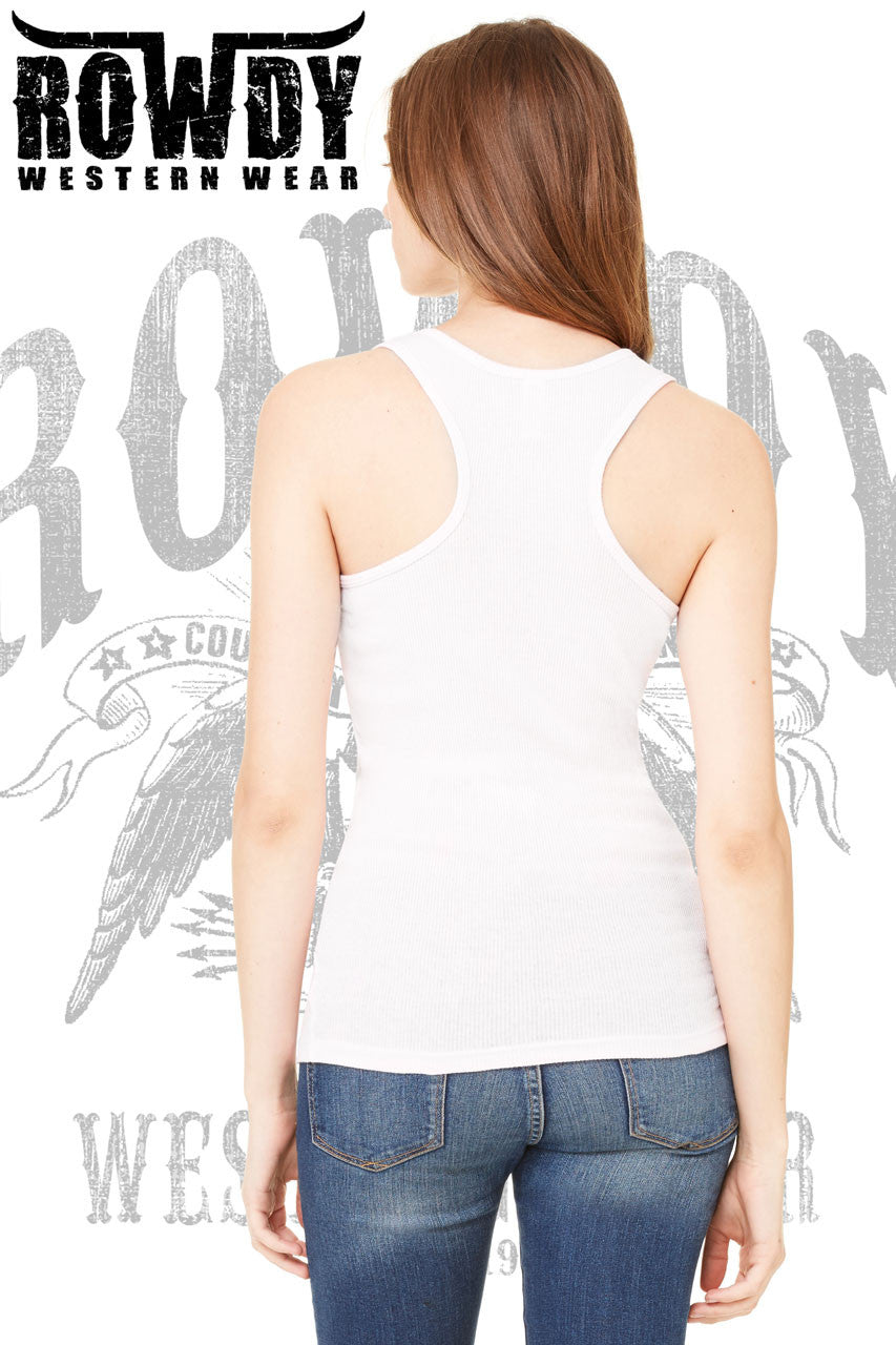 Rowdy Western Wear - Juniors Rowdy Distressed Baseball Racerback Tank