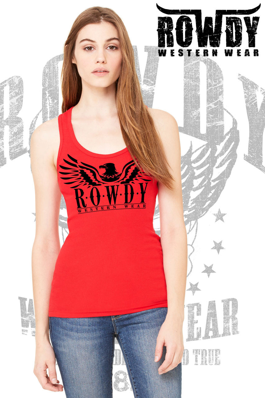 Red - Juniors Eagle Logo Racerback Tank
