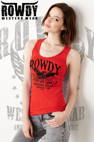Red - Juniors Forever Free Racerback Tank