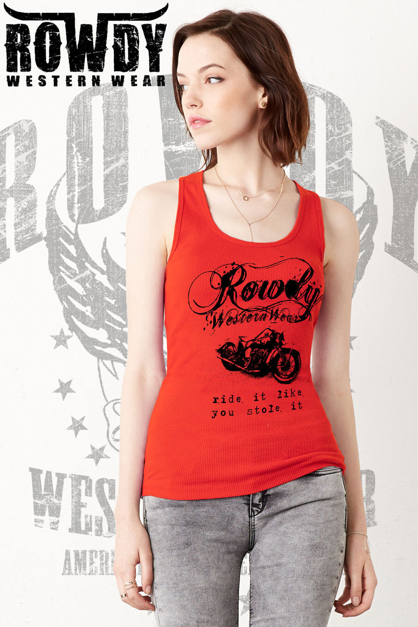 Red - Juniors Ride It Like You Stole It Racerback Tank