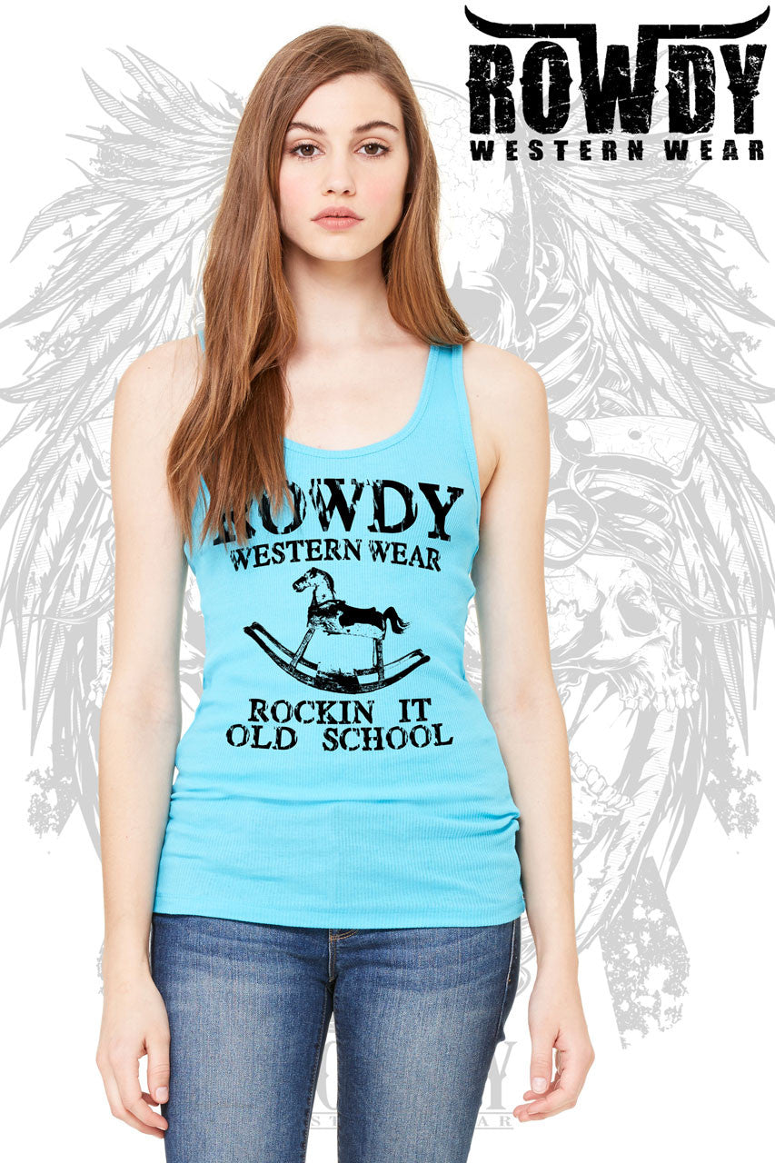 Turquoise - Juniors Rockin it Old School Racerback Tank