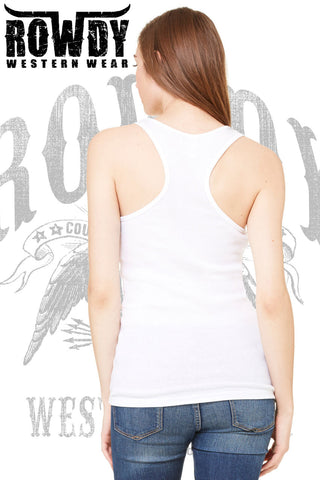 Rowdy Western Wear - Juniors Rose Heart Racerback Tank