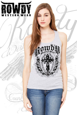 Athletic Heather - Juniors Cross Racerback Tank