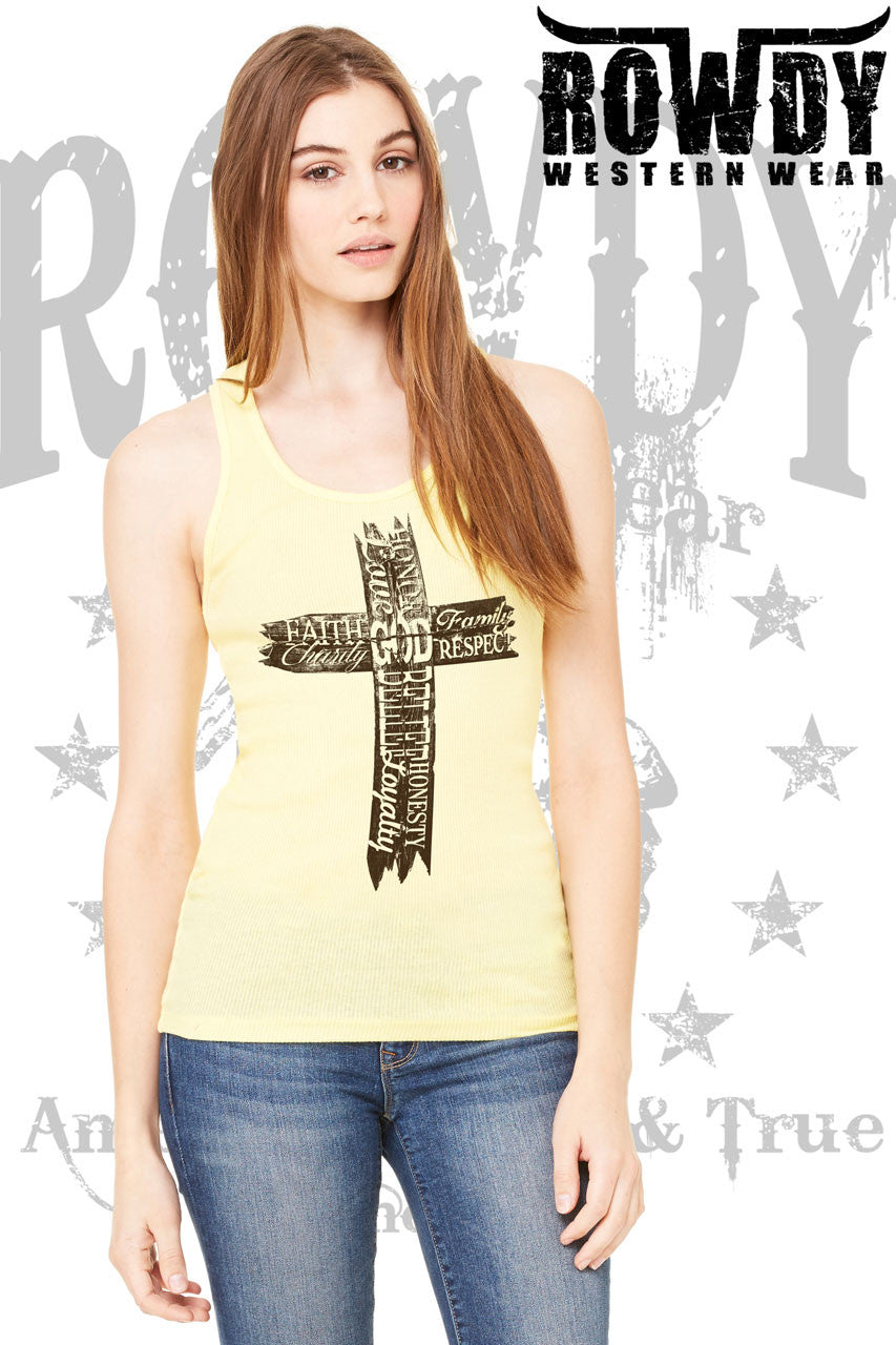 Yellow - Juniors Old Wooden Cross Racerback Tank